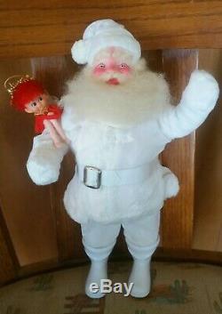 Vintage Harold Gale Santa Claus White Velvet 1959 With Japan Pixie Elf