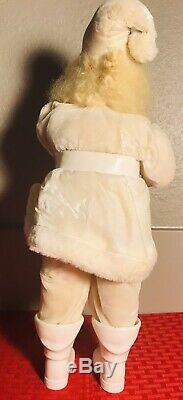 Vintage Harold Gale Santa Claus White Velvet Suit Christmas Display Figure