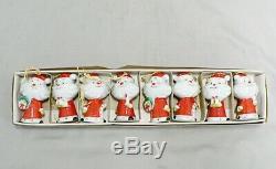 Vintage Holt Howard Set Of 8 Porcelain Santa Claus Ornaments Japan