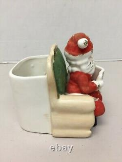 Vintage Inarco Planter Mr Mrs Claus Flocked Christmas on Couch 1961 Santa