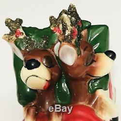 Vintage Kreiss Santa Claus Pulling Sleigh Tipsy Sleeping Reindeer Figure Japan