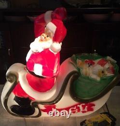 Vintage Large Empire Santa Claus Sleigh Blow Mold, 36 Long