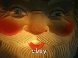 Vintage Large Plastic Blow Mold Christmas Santa Claus Face Head Light