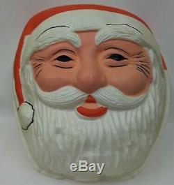 Vintage Large Santa Claus Head Christmas Blow Mold Lamp Post Light Cover Set