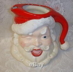 Vintage Large Santa Claus Head Porcelain Toby Pitcher Japan Gar Rare