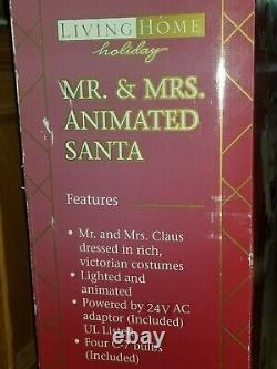 Vintage Living Home Holiday Lighted & Animated MR & MRS SANTA CLAUS Figures 25