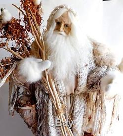 Vintage Lynn Haney Large Winter Woods Santa Claus Folk Art Figurine 1993 26