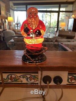 Vintage Milk Glass Painted Santa Claus Lamp Light 8 Tall Works Rare