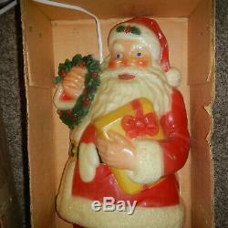 Vintage NOMA Plastic Blow Mold Christmas Santa Claus 30 Light Up Wall Display