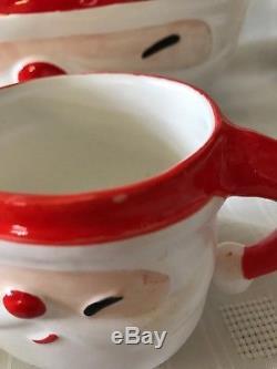 Vintage Napco Winking Santa Claus Punch Bowl Mugs Ladle Christmas