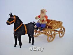 Vintage Old German Santa Claus in Horse Drawn Wicker Wagon