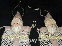 Vintage Pair of Mesh Bag Santa Claus Candy Container Santa Face Christmas