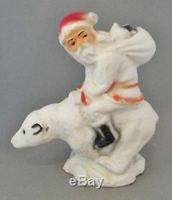 Vintage Paper Mache Santa Claus Riding a Polar Bear Christmas Decoration, NICE