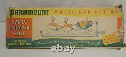 Vintage Paramount Christmas Windup Musical Santa Claus Reindeer Sled Sleigh