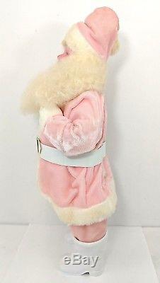 Vintage Pink Harold Gale Santa Claus Velvet Suit Figure