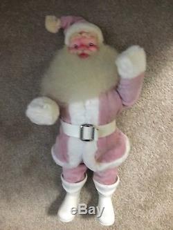 Vintage Pink Velvet 15 Santa Claus Figure Harold Gale