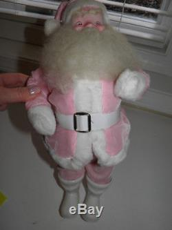 Vintage Pink Velvet Harold Gale 15 Santa Claus Figure 1960's
