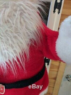 Vintage Plush Santa Claus Rushton Style Face 7up Store Display Large 46 Tall