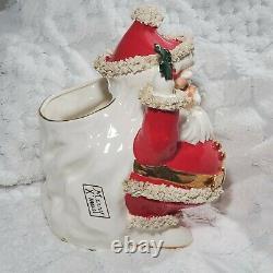 Vintage RARE 14H 10W 12D BIG Napco Spaghetti Santa Christmas Planter Japan