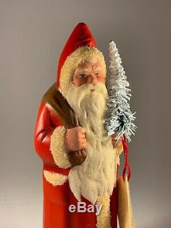 Vintage RARE Hand Signed INO SCHALLER Santa Claus Paper Mache 11 Germany Candy