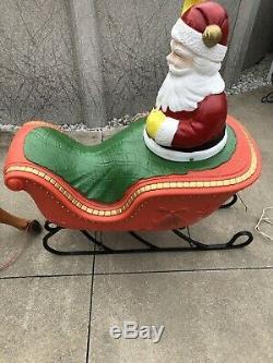 Vintage Rare 1960s Santa Claus Sleigh Poloron Christmas Blow Mold