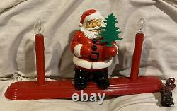 Vintage Royal Electric Santa Claus Lighted Electric 2-Candle Christmas Cat# 725