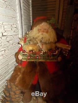 Vintage Santa Claus, Antique christmas fence, Vintage fur coat, Handmade, deer