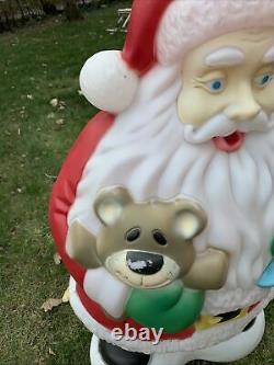 Vintage Santa Claus & Bear Blow Mold Christmas Holiday Lawn Figure 40 Lighted