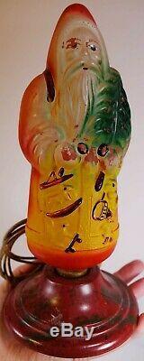Vintage Santa Claus Figural Glass Light Bulb Rare LAMP BASE Christmas Ornament