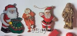 Vintage Santa Claus Figures & OrnamentsBrassWoodPlasticPorcelain Lot of 34