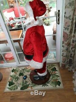 Vintage Santa Claus Gemmy 5' Animated Singing Dancing Life Size Christmas