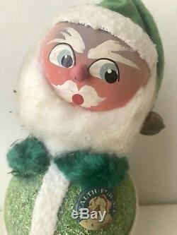 Vintage Santa Claus Paper Mache Bobblehead Candy Container Western Germany Rare