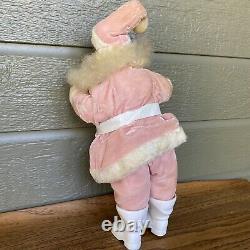 Vintage Santa Claus Pink Suit Christmas Decor Doll 15 Inch Harold Gale