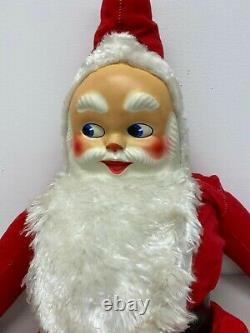 Vintage Santa Claus Plastic Face 39 Christmas Stuffed Plush Doll Decoration