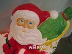 Vintage Santa Claus Sleigh with2 Reindeer outdoor Blow Mold Grand Venture