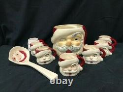 Vintage Santa Claus eggnog / punch bowl, 7 mugs, and ladle, 1950s