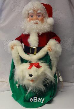 Vintage Santa's Best 24 Animated Motion Electric Christmas Santa Claus w Dog