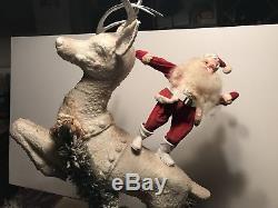 Vintage Store Display Santa Riding Rudolph Harold Gale Santa Claus Christmas
