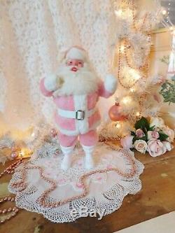 Vintage Velvet Plush Fur PINK Harold Gale JOLLY Christmas SANTA Claus 15 WoW