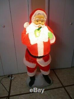 Vintage Whispering FINGER Santa Claus Lighted Christmas Blow Mold Yard Decor 50