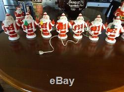 Vintage lot of 7 1950s Harett-Gilmar Light Up Santa Claus Candy Holder Banks