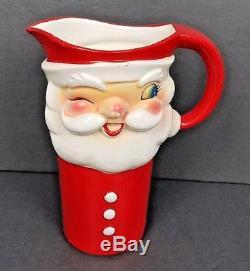 Vtg 1960 Holt Howard Winking Santa Claus Pitcher & 6 Mug set in Original Box