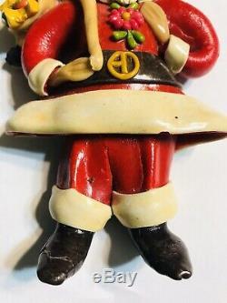Vtg 1960s OOAK Clay Dough Alien Figure Extraterrestrial Santa Claus Christmas
