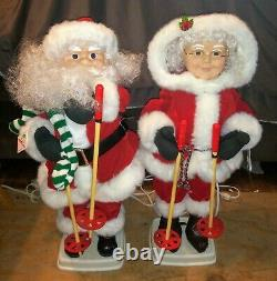 Vtg 1995 Santa & Mrs Claus Telco Motionettes 24 Animated Skiing Figures
