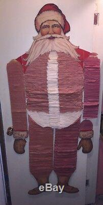 Vtg Beistle Santa Claus In Box Original Advertising 1930's Honeycomb 5 ft RARE