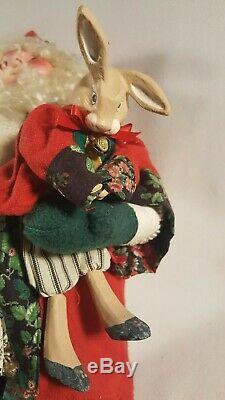 Vtg Christmas House of Hatten Santa Claus Elf Doll & Bunny Rabbit #31403