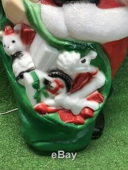 Vtg. Empire 46 Santa Claus Christmas Lighted Blow Mold Toy Sack Huge Large Rare