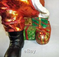 Vtg. Giant Santa Claus Figure Store Display Sitting on Presents Over 2.5 Ft Tall
