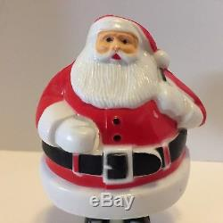 Vtg Hard Plastic Rosbro Santa Claus On Skis Candy Container White Painted Face