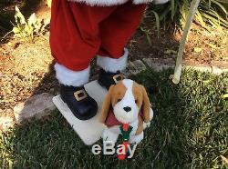 Vtg Large Realistic Life Size Santa Claus With Animated Dog